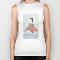 superman Biker Tanks featuring Superman by Popol