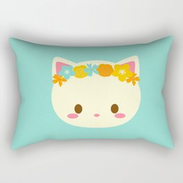 Kitty Flower Crown Rectangular Pillow