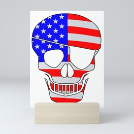 Old Glory Skull Silhouette With Eye Patch Mini Art Print