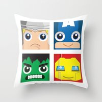 superheros Throw Pillows featuring Earth Defenders by Jconner
