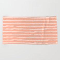 Sweet Life Thin Stripes Peach Coral Pink Beach Towel