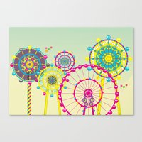 ferris wheel Canvas Prints featuring Ferris Wheel by Jing Zhang's illustrations