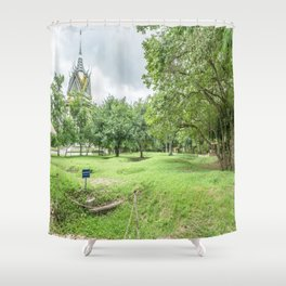 The Killing Fields and Stupa, Cambodia Shower Curtain
