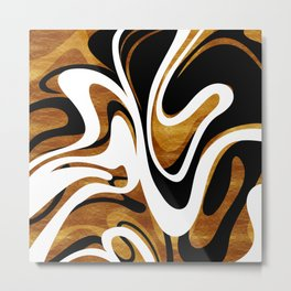 Finger Paint Swirls - Gold, Black and White Metal Print