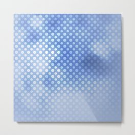 White polka dots on serentiy blue with bokeh texture Metal Print