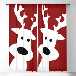 Reindeer on red background Blackout Curtain