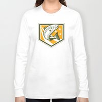 trout Long Sleeve T-shirts featuring Trout Jumping Retro Shield by patrimonio