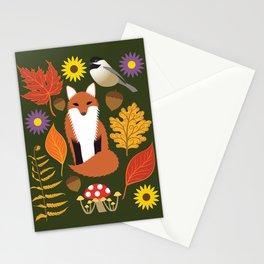 Fox, Autumn Woodland Leaf Print Stationery Cards