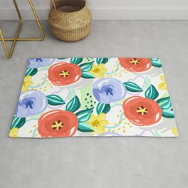 Flowers red pattern Rug