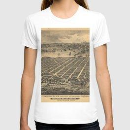 Vintage Bird's Eye Map Illustration - Coronado Beach & San Diego, California (1880) T-shirt
