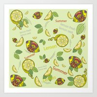Pattern on a green background with lemons Art Print