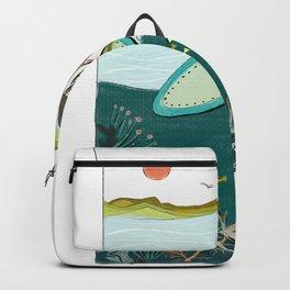 surfing girl beach resort art Backpack
