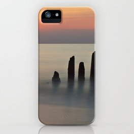 Groyne and sunset on the Baltic Sea coast iPhone Case
