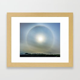 Plane in the Sun circle Framed Art Print