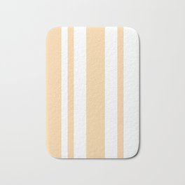 Mixed Vertical Stripes - White and Sunset Orange Bath Mat