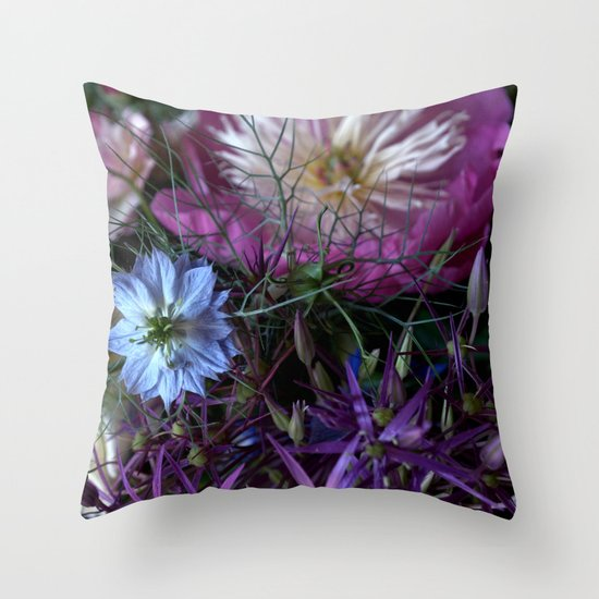 Purple Love Clusters Throw Pillow