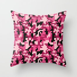 Pink and Black Pixel Camo pattern Throw Pillow
