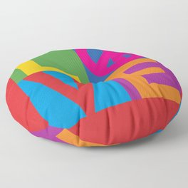 Love Peace Color Blocked Floor Pillow