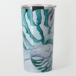 Turquoise Nautilus Shell painting watercolor Travel Mug