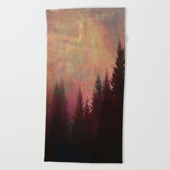 Repose, Abstract Landscape Trees Sky Beach Towel