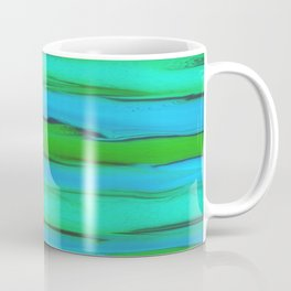 Apple Green, Seafoam, and Azure Blue Stripes Abstract Coffee Mug