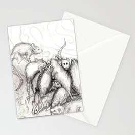 Rats Feeding on Milk Stationery Cards