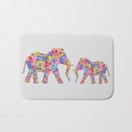 Floral Elephants Bath Mat