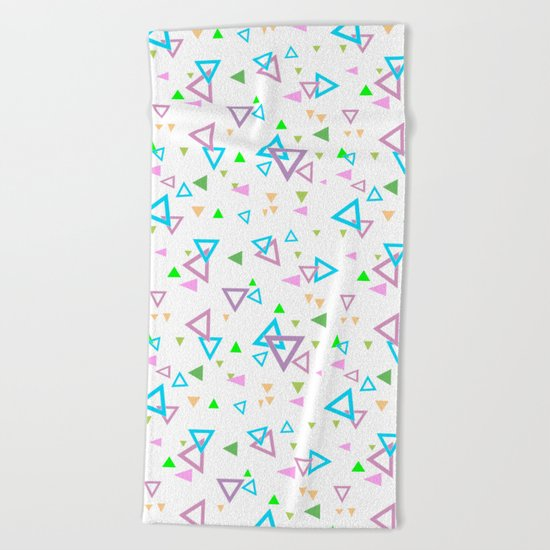Abstract triangles pattern with triangular Beach Towel
