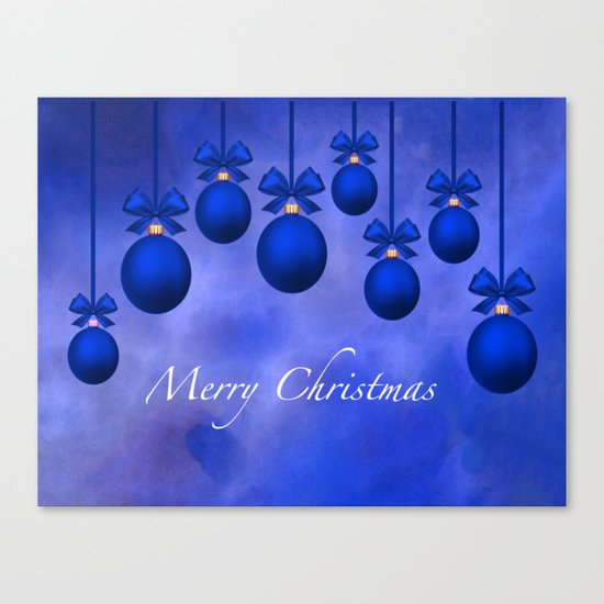 Merry Christmas Ornaments Bows and Ribbons – Blue Canvas Print