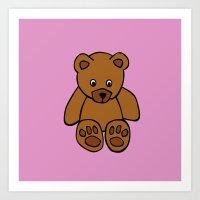 teddy bear Art Prints featuring Teddy Bear by ArtSchool