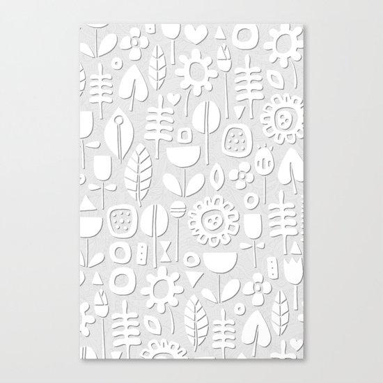 paper cut flowers white silver Canvas Print