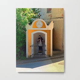 The saint in the small village chapel Metal Print