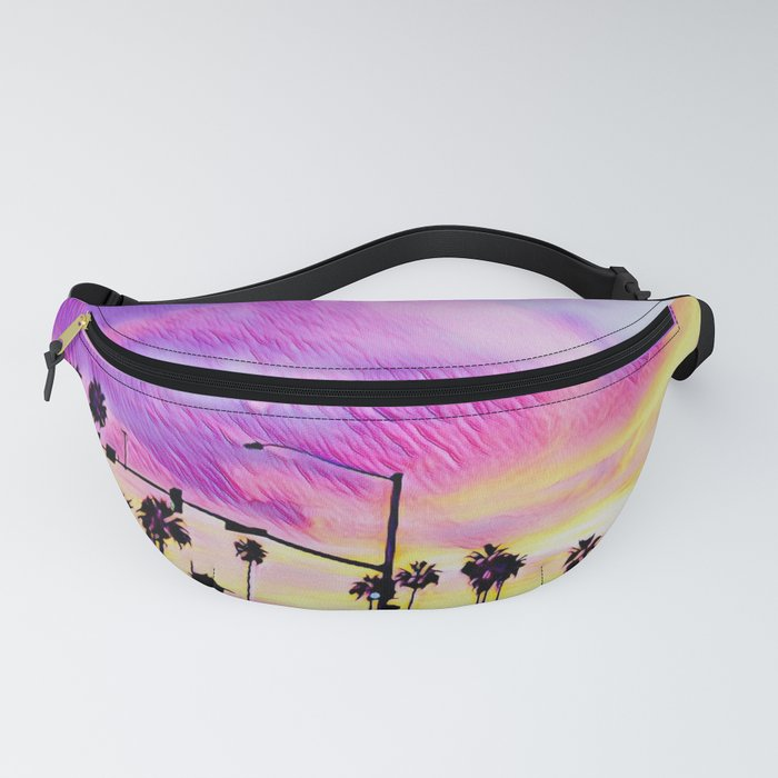 Purple Sunset with Palm Trees in a Silhouette in Carlsbad, California Fanny Pack