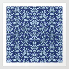 Custom Retro Blue Floral Pattern Art Print