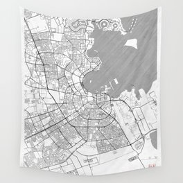 Doha Map Line Wall Tapestry