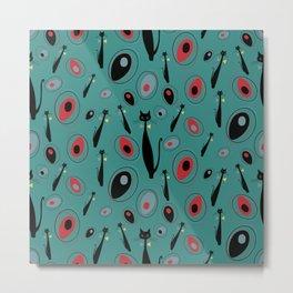 Mid-Century Modern Art Atomic Cats 1.3 Teal Pattern Metal Print