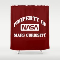 nasa Shower Curtains featuring Property of NASA Mars Curiosity Rover Athletic Wear White ink by RockatemanDesigns