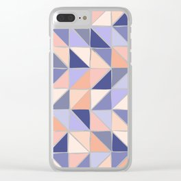Triangle Geometry in Purple and Coral Clear iPhone Case
