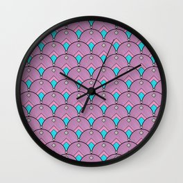 Purple Pastels Art Deco Fan Pattern Wall Clock