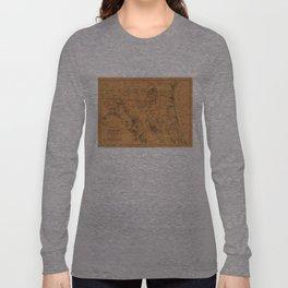 Vintage Map of Northern Florida (1864) Long Sleeve T-shirt