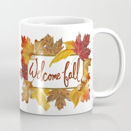 A Welcome Fall with Colorful Leaves Sign Coffee Mug