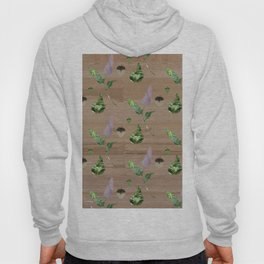 Floral Pattern on Wooden Table Hoody