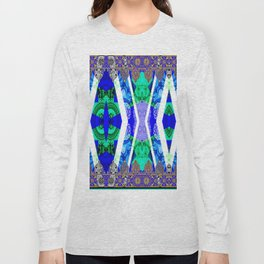 Abstract Lace - Blue Long Sleeve T-shirt