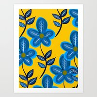 Blue Flowers and Yellow Pattern Art Print