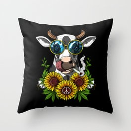 Hippie Cow Smoking Weed Throw Pillow