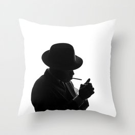 Silhouette of private detective in old fashion hat lights a cigarette Throw Pillow