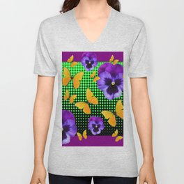 PURPLE PANSIES BUTTERFLY GREEN COLLAGE Unisex V-Neck