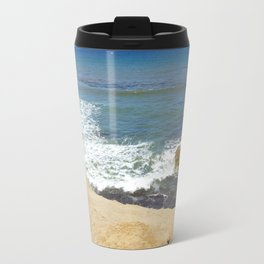 Rocky coast of the Pacific Ocean at midday. Travel Mug