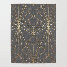 Art Deco in Gold & Grey - Large Scale Poster
