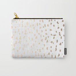 Luxe Gold Painted Polka Dot on White Carry-All Pouch